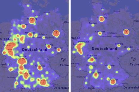 Grafische Darstellung der Neugründungen Januar (links) und August (rechts) 2019 aus der databyte Heat Map